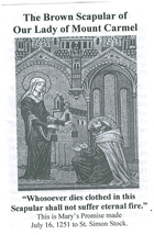 Brown Scapular of Our Lady of Mount Carmel with Pamphlet - 100% WOOL image 5