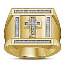 Christian Mens Wedding Cross Ring 14k Yellow Gold Over 925 Sterling Soli... - $108.99