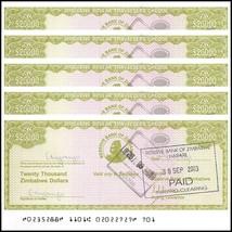 Zimbabwe 20,000 (20000) Dollars Cheque Amount Field X 5 Pieces (PCS), 20... - $13.99