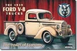 Ford Trucks 39 Pickup V8 Logo Car Garage Dealer Retro Wall Decor Metal Sign - $15.99