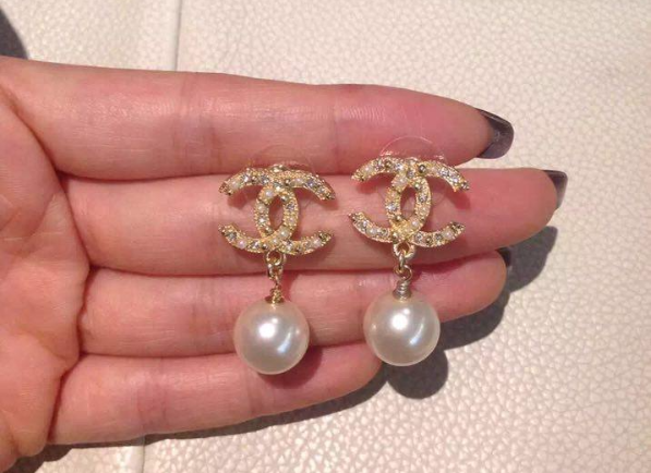 Authentic CHANEL Classic Signature Crystal CC Logo Pearl Drop Earrings Gold