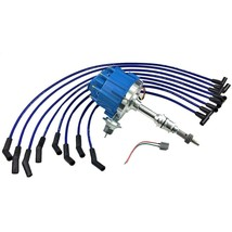 HEI Distributor + 8mm SPARK PLUG WIRES SMALL BOCK FORD SBF 221 260 289 302 BLUE