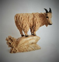 MINIATURE MOUNTAIN GOAT MAPLE WOOD CARVING SCULPTURE BY JOAN KOSEL - $107.53