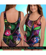 Tropical Hearts by Creative Devotions - Girls' One Piece Swimsuit - $58.00