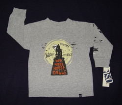 Oshkosh Halloween Heather Gray Long Sleeve Haunted House Shirt Toddler Boys NWT - $13.49