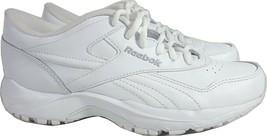 Reebok Womens White Leather Athletic Walking Shoes Sneakers  8.5, 39 EU - $42.48