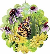 """Butterfly Wind Spinner Flowers New Zephyr Spiral 12"""" Steel Flowers Monarch  - $27.71"""