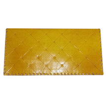 Handmade 1 Fold Genuine Real Leather Women Clutch Yellow - $35.00