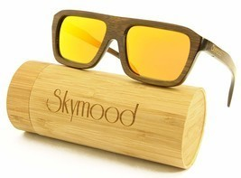 SKYMOOD Wood Sunglasses Men,wood sunglasses polarized with Bamboo Box - $37.58