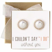 Bridesmaid Gift Pearl Crystal Stud Earrings in Post or Clip Earrings - $15.03