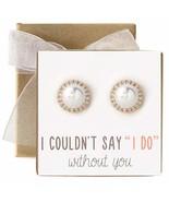 Bridesmaid Gift Pearl Crystal Stud Earrings in Post or Clip Earrings - $16.07