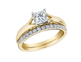 18k Yellow Gold Over Pure 925 Silver Princess Cut CZ Engagement Bridal Ring Set - $94.99