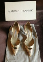 Manolo Blahnik Nappa Beige Tan Snake Skin Python Pumps Size 38 Display M... - $350.00