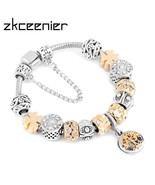ZKCEENIER Fashion Tree Of Life Charms Brand Bracelet European Lucky Clov... - $10.65