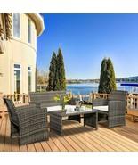 Set of 4 Pcs Rattan Garden Patio Lawn Pool Sturdy Stylish Comfort Furniture - $299.47