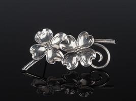 Dogwood silver brooch by Beau of Beaucraft, Rhode Island, 1950s jeweller... - $81.51