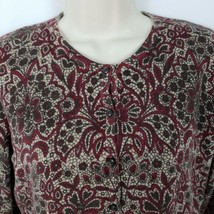 Croft & Barrow Button Front Cardigan Sweater Size Small Maroon Tan Flora... - $7.92