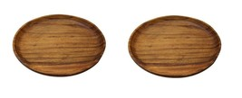 Songwon Round Wooden Plate Platter Serving Dish Bowl 7.8 inches (2 Counts) image 1