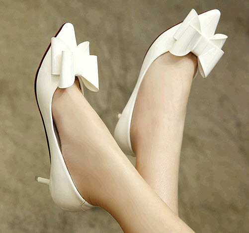 Primary image for ps325 elegant bowtie pump, slim heels, US Size 3-9, white