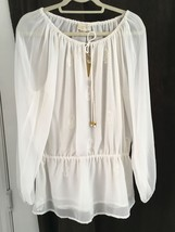 Michael Kors Woman's Size 4 Ivory Peasant Boho Top Scattered Sequins NWT... - $23.13