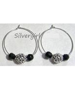 "1 1/2"" Silver Plate Black Beaded Glitter Hoop Earrings - $9.99"