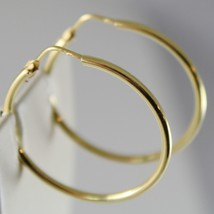 18K YELLOW GOLD EARRINGS CIRCLE HOOP 28 MM 1.10 INCHES DIAMETER MADE IN ITALY image 2
