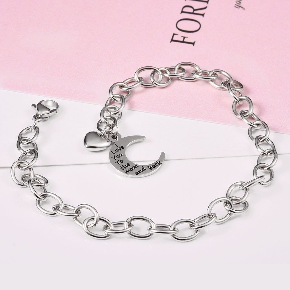 Heart Charm Bracelets, I Love You to the Moon and Back Stainless Steel Bangle An