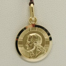 SOLID 18K YELLOW GOLD JESUS CHRIST REDEEMER 15 MM MEDAL, PENDANT, MADE IN ITALY image 2