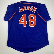 New JACOB DEGROM New York Blue Custom Stitched Baseball Jersey Size Men'... - $49.99