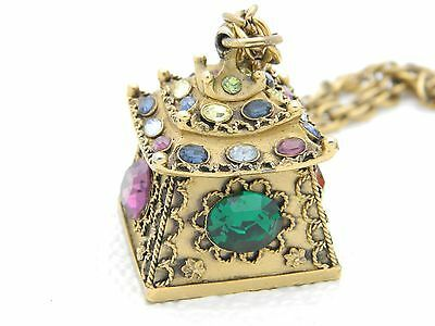 Primary image for RARE CROWN TRIFARI Rhinestone Pagoda Pendant Necklace MUST SEE!