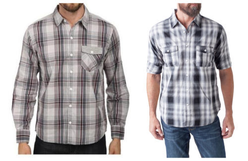 Seven7 Men's Woven Button-Down Shirt Long Sleeve Plaid Licensed NEW