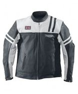 TRIUMPH -BERVICK  BLACK AND WHITE HIDE RACING MOTORCYCLE LEATHER JACKET  - $179.00