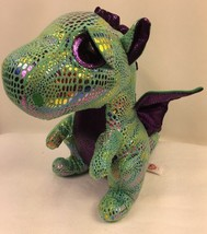 TY Beanie Boo Cinder Green Metallic Dragon Stuffed Animal Glitter Eyes  ... - $10.89