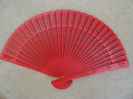 Red Wooden carved Pattern on Hand Held Fan - $9.50
