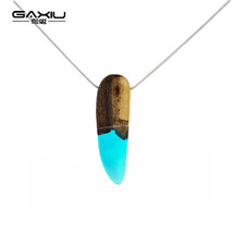 Nature Resin Wood Necklace & Pendant Fashion Creative Women Men Jewelry ... - $11.64