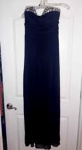 Prom Bridesmaid Formal Long Dress Navy Blue Beaded Top Slvess Baby Doll ... - $5.64