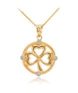 10K Yellow Gold Irish Shamrock Clover Diamond Pendant Necklace - $119.99+
