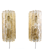 GEFION SCONCES (pair), crystal glass wall lights by Lyfa/Orrefors, 1960s. - $873.00