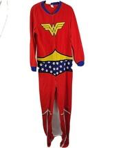 WONDER WOMAN One Piece Fleece Pajamas Costume  Union Suit Teen Large 12/14 - $18.99