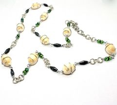Necklace the Aluminium Long 90 Inch with Seashells Hematite Crystals Green image 6