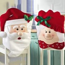 Christmas Decoration Chair Cover 2 Pcs Set Mr Mrs Santa Claus Xmas Party Decor - $12.15