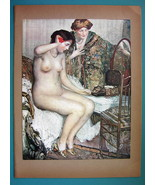 NUDE Young Maiden Morning Toilette Servant - COLOR Typogravure Print - $22.95