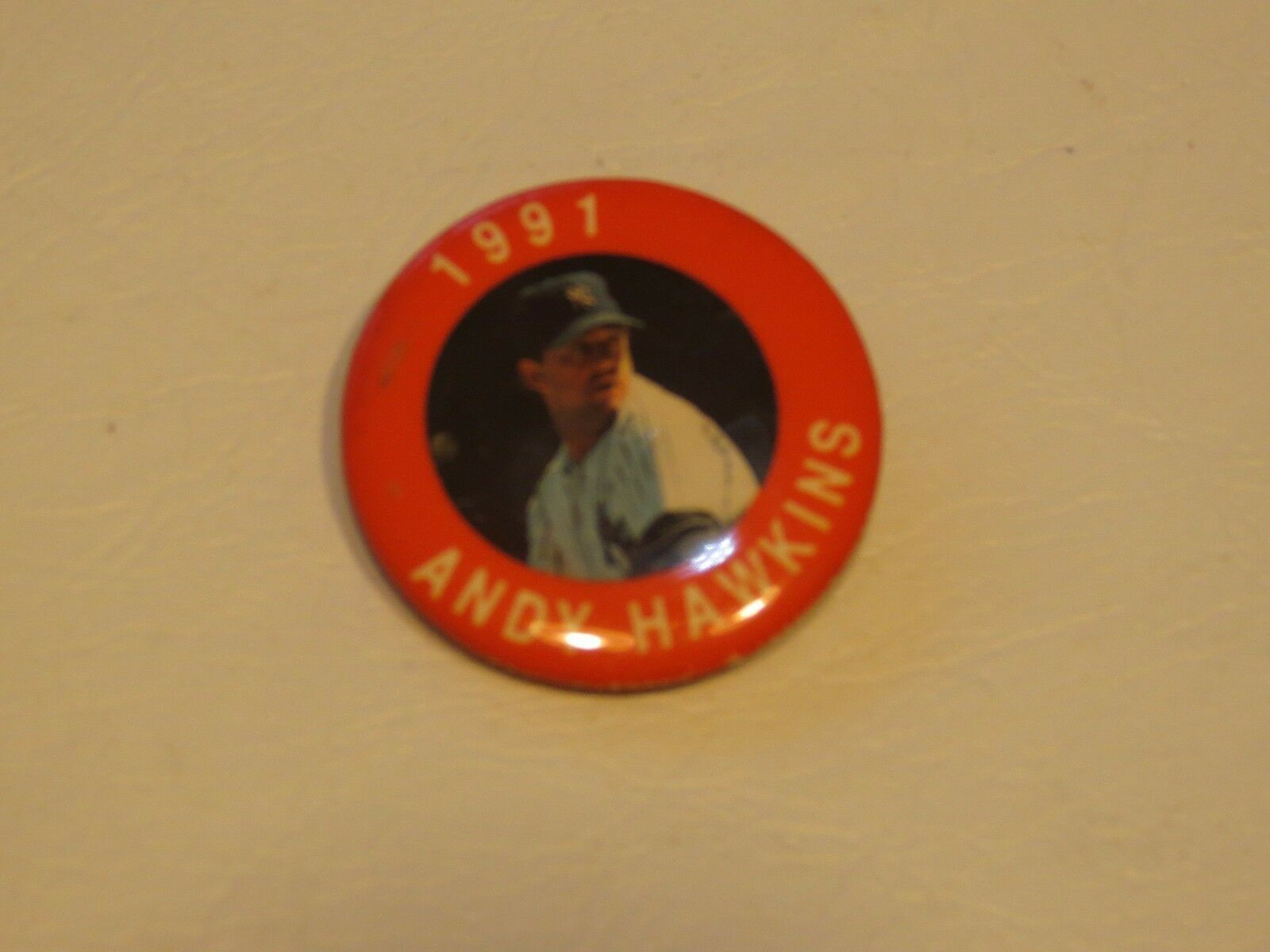 Primary image for RARE 1991 Baseball Pin Andy Hawkins New York Yankees button 1 1/2 in MLB MLBPA