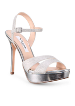 NEW NINA SILVER PLATFORM SANDALS PUMPS  SIZE 8.5 M $79 - $33.24