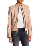 New $899 Womens M Blush Leather Jacket 7 for all mankind Zipper Beige Pi... - $359.60