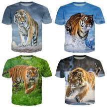 "Fashion Men/Women""s Animal Tiger 3D Print Casual T-Shirt Short Sleeve Tops - $31.30"