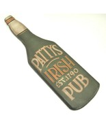 "Pattys Irish Pub Wooden Bottle Shaped Wall Plaque Sign Green 18.25"" St P... - $17.86"