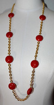 MONET Red Acrylic Bead Beaded Gold Tone Chain Long Necklace Vintage - $39.59