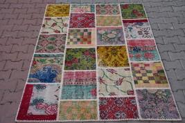 Patchwork Rug Vintage Oushak Turkish Anatolian Patchwork Carpet Area Low... - $372.72