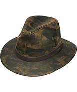 Henschel Cotton Blend Safari Mid Size Brim Leather Band Dark Camo - $48.00